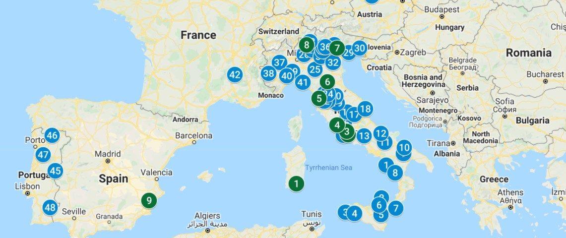 Mappa dei Bio-Distretti Europei